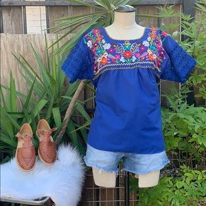 Embroidered/lace oversized Mexican style top